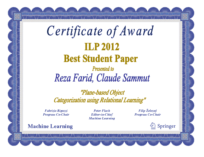 Best paper certificate